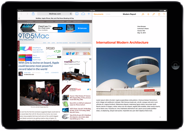 Apple plans to match Microsoft Surface with split-screen iPad multitasking in iOS 8