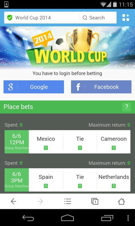 World Cup Guessing Contest site on UC Browser