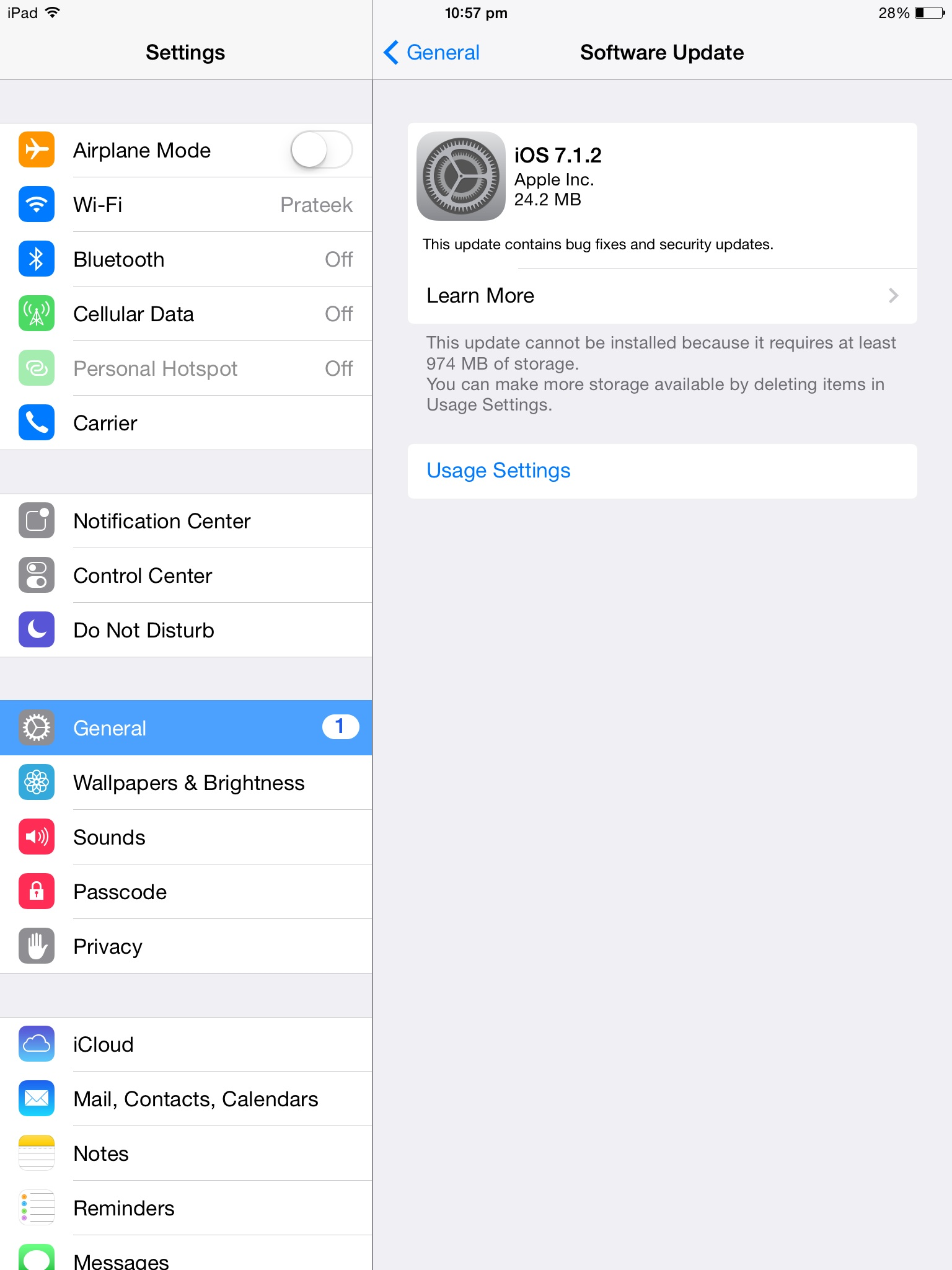 Update for iOS 7.1.2 on iPad