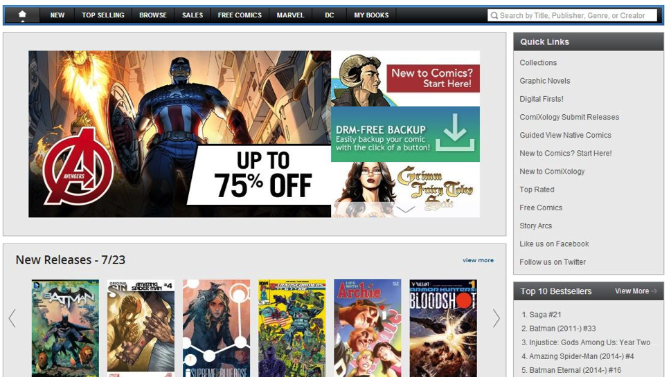 Comixology provide ability to Backup comics to their users in the form of PDF or CBZ