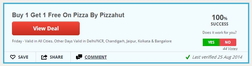 pizza hut deal on coupon rani