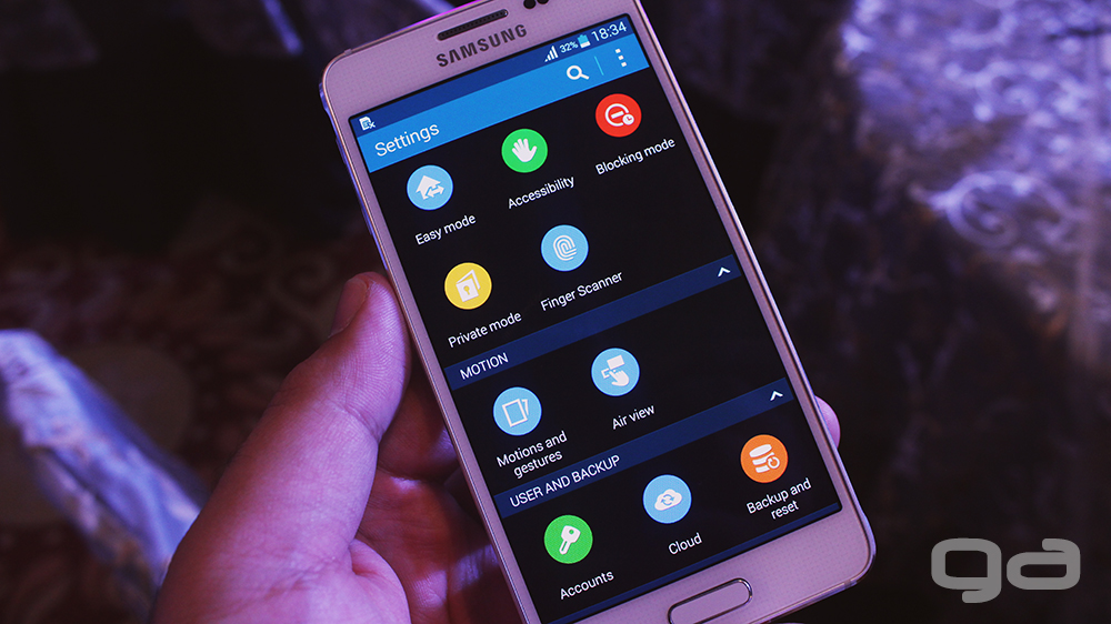 The settings menu is same as the Galaxy S5